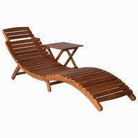 vidaXL sauļošanās krēsls ar galdiņu, akācijas masīvkoks, brūns