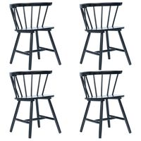 vidaXL virtuves krēsli, 4 gab., melni, masīvs gumijkoks