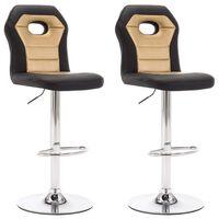 vidaXL bāra krēsli, 2 gab., zelta krāsas mākslīgā āda