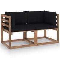 vidaXL 2-vietīgs dārza palešu dīvāns, melni matrači, priedes koks