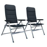 vidaXL atgāžami dārza krēsli, 2 gab., alumīnijs, melni