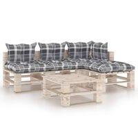 vidaXL 5-daļīgs palešu dīvānu komplekts ar matračiem, priedes koks