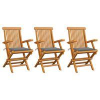 vidaXL dārza krēsli, pelēki matrači, 3 gab., masīvs tīkkoks