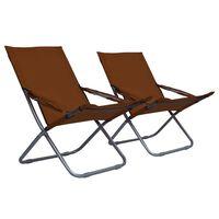 vidaXL salokāmi pludmales krēsli, 2 gab., brūns audums
