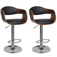 vidaXL bāra krēsli, 2 gab., izliekts koks un mākslīgā āda