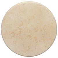 vidaXL galda virsma, Ø50x2,5 cm, krēmkrāsas marmors