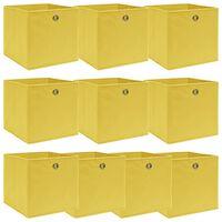 vidaXL uzglabāšanas kastes, 10 gab., 32x32x32 cm, dzeltens audums