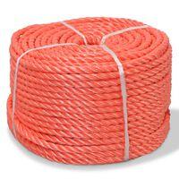 vidaXL vīta virve, polipropilēns, 14 mm, 100 m, oranža