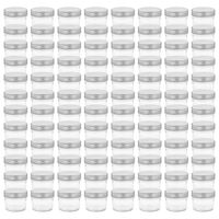 vidaXL ievārījuma burciņas, sudraba krāsas vāciņi, 96 gab., 110 ml