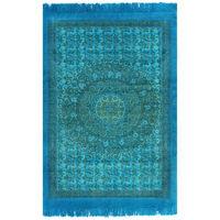 vidaXL kilim paklājs ar rakstu, 160x230 cm, kokvilna, tirkīzzils