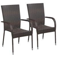 vidaXL dārza krēsli, 2 gab., PE rotangpalma, brūni