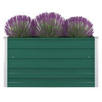 vidaXL puķu kaste, zaļa, 100x100x45 cm, cinkots tērauds