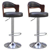 vidaXL bāra krēsli, 2 gab., liektas koksnes rāmis, mākslīgā āda