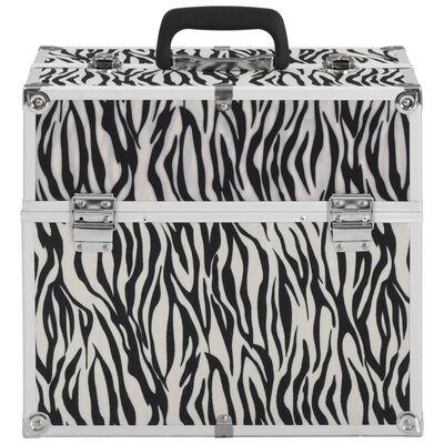 vidaXL kosmētikas koferis, 37x24x35 cm, alumīnijs, ar zebras svītrām