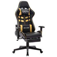 vidaXL datorspēļu krēsls ar kāju balstu, melna, zeltaina mākslīgā āda