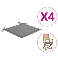 vidaXL dārza krēslu spilveni, 4 gab., pelēki, 40x40x4 cm