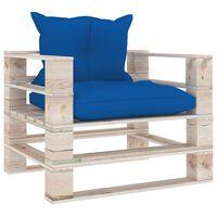 vidaXL dārza palešu dīvāns ar koši ziliem matračiem, priedes koks
