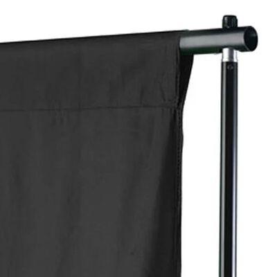 vidaXL fons, 300x300 cm, melna kokvilna