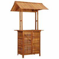 vidaXL dārza bāra galds ar jumtu, 122x106x217 cm, akācijas masīvkoks