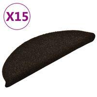 vidaXL kāpņu paklāji, 15 gab., pašlīmējoši, 56x17x3 cm, tumši brūni