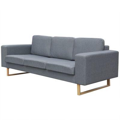vidaXL trīsvietīgs auduma dīvāns, gaiši pelēks