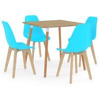 vidaXL 5-daļīgs virtuves mēbeļu komplekts, zils