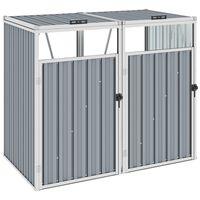 vidaXL divdaļīga nojume atkritumu konteineriem, pelēka, 143x81x121 cm