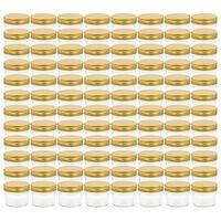 vidaXL ievārījuma burciņas, zelta krāsas vāciņi, 96 gab., 110 ml