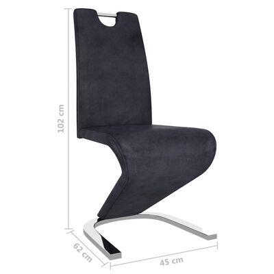 vidaXL virtuves krēsli, 6 gab., zigzaga forma, pelēka mākslīgā zamšāda