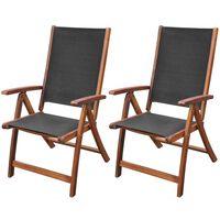 vidaXL saliekami dārza krēsli, 2 gb., akācijas masīvkoks un tekstilēns