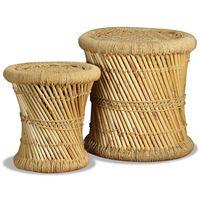 vidaXL taburetes, 2 gab., bambuss, džuta