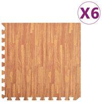 vidaXL grīdas paklājiņi, 6 gab., 2,16 ㎡, EVA putas, koka tekstūra