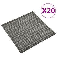 vidaXL paklājflīzes, 20 gab., 5 m², 50x50 cm, antracītpelēkas