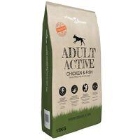 vidaXL suņu sausā barība, Adult Active Chicken & Fish, Premium, 15 kg