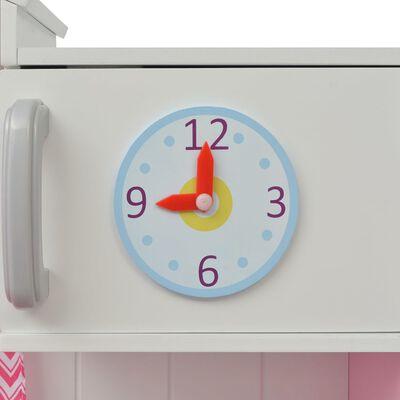 vidaXL rotaļu virtuve, rozā un balta, 82x30x100 cm, koks