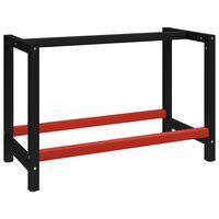 vidaXL darba galda rāmis, metāls, 120x57x79 cm, melns un sarkans