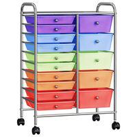 vidaXL XXL uzglabāšanas ratiņi, 15 atvilktnes, krāsaina plastmasa