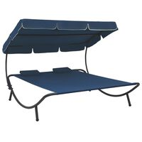 vidaXL Outdoor Lounge Bed with Canopy and Pillows Blue