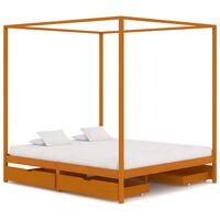 vidaXL gultas rāmis ar nojumi, 4 atvilktnes, priedes masīvkoks
