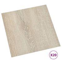 vidaXL grīdas flīzes, 20 gab., pašlīmējošas, 1,86 m², PVC, bēšas