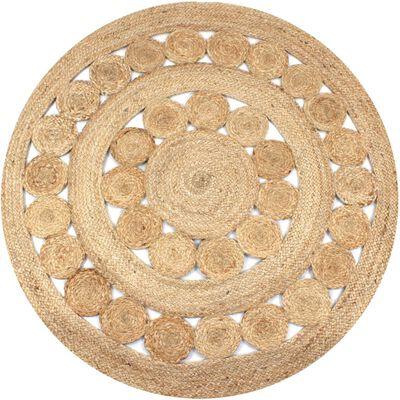 vidaXL paklājs, pīts, apaļš, 120 cm, džuta