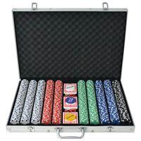 vidaXL pokera komplekts ar 1000 alumīnija žetoniem