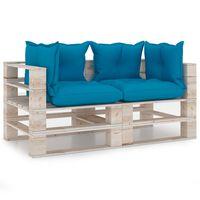 vidaXL četrvietīgs dārza palešu dīvāns ar matračiem, priedes koks