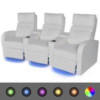 vidaXL atgāžams atpūtas dīvāns ar LED, trīsvietīgs, balta mākslīgā āda