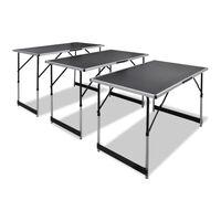 vidaXL darba galdi, 3 gab., saliekami, regulējami augstumā