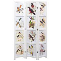 vidaXL 5 paneļu istabas aizslietnis, 175x165 cm, balts, putnu apdruka