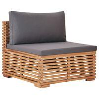 vidaXL dārza vidējais dīvāns ar pelēku spilvenu, masīvs tīkkoks