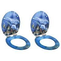 vidaXL tualetes poda sēdekļi, lēni aizverami, 2 gab., delfīnu dizains