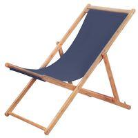 vidaXL saliekams pludmales krēsls, zils audums, koka rāmis