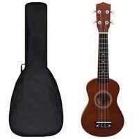 """vidaXL soprāna bērnu ukulele ar somu, tumša koka krāsā, 21"""""""